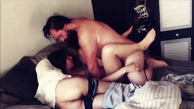 3some cock Husband and Bestfriend take turns cumming in Wife.