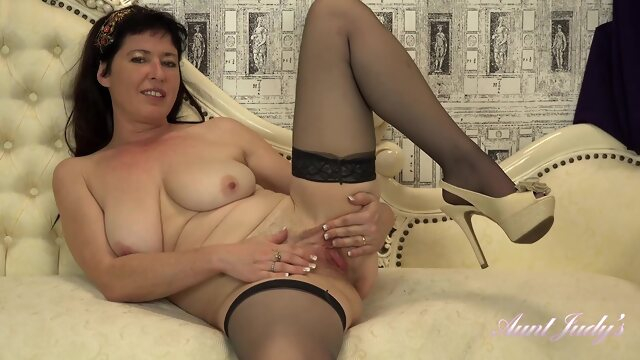 brunette big tits AuntJudys - Auntie Janey Wants To Watch You Jerk Off