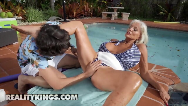 mature blonde Ricky Spanish Fucks Sally D'Angelo's Mature Pussy By The Pool