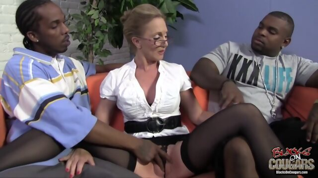 big tits big cock Mature blonde woman, Jenna Covelli cant hold back from having threesomes with handsome, black guys