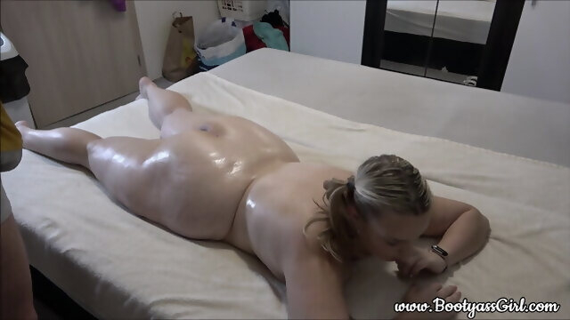 blonde amateur A tired chubby girl gets massage after a hard day