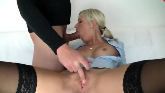blonde ass Blonde fingering in a bra panties and stockings