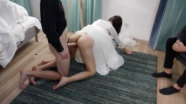 cuckold 3some Creampie On Cuckold`s Cock.Condom Broke After Wedding