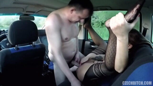 brunette blowjob Czech bitch fucked in car by old guy