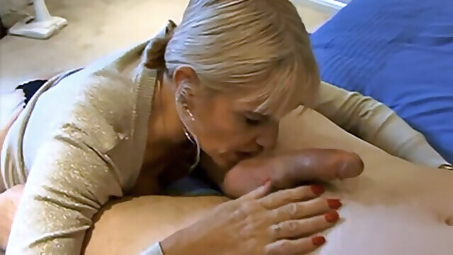 blowjob amateur Mature wife deepthroats and licks balls