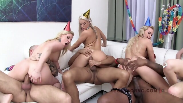 blonde big cock Lucie Wilde 5 On 5 Creampie Orgy