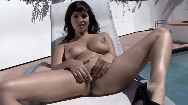 brunette big tits Sunny Leone Strip By The Pool